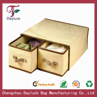Printed black folding non-woven fabric storage drawer box