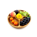 Acacia solid wood round shape wood fruit snack plate tray