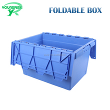 Factory Price Industrial Use 600*400*340 Attached Lid Container Plastic Stackable Turnover Moving Box With Lid