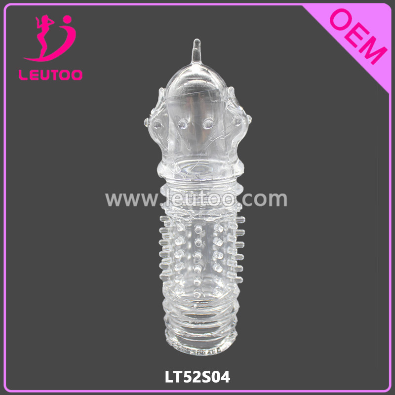 Five Extra Inch Penis Extender Sleeve OEM Special Condom with Spike Designed Crystal Reusable Best Sex Delay Condom Penis Sleeve