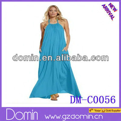 2013 new fashionable design maxi halter tie flowy Long casual dress