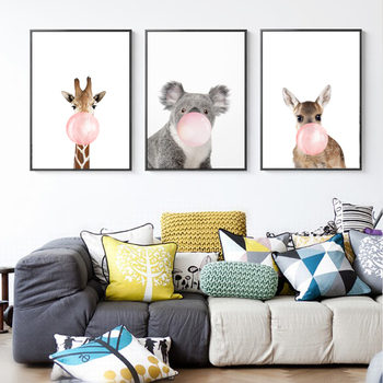 Lovely Lovely Animals Blowing Bubbles Canvas Paintings Nursery Wall Art Nordic  Posters Print Pictures For Kids Room