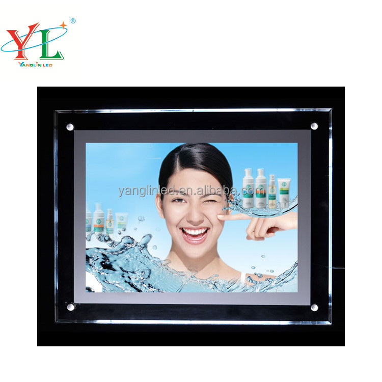 indoor <strong>slim</strong> clear acrylic photo frame crystal <strong>light</strong> box