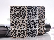 Min 200pcs (can mix various colors) PU Leather Leopard grain Flip Case Cover For iPhone5