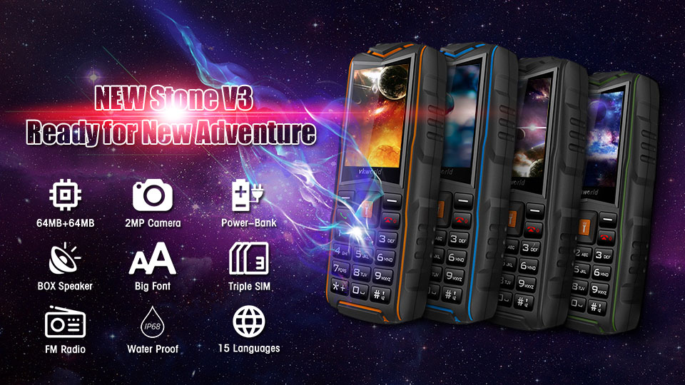 Cheapest Big Voice  Feature Phone VKWORLD New Stone V3 64MB+64MB Waterproof 3 Sim Card Feature Phone