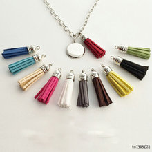 Fashion Pendant Monogram Trendy Silver Long Chain in Your Choice of Suede Leather Tassel Necklace