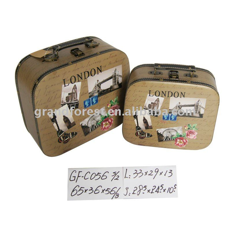 2016 Wholesale Snakeskin Suitcase Wooden Canvas Storage Trunks
