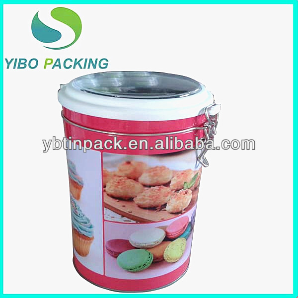 round cake tin can with airtight lid for cookies or cake,Hot sale! cookies tin box