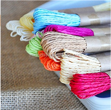Colorful Raffia Stripes Paper String with Gold Wire DIY Craft Decorating Tool