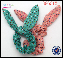 Factory Wholesale Baby Girl Hair Accessories Summer Style Jade&Peach Rabbit Ears Fabric Girl Elastic Hair Bands