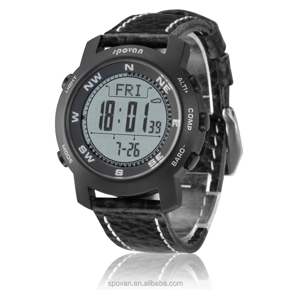 Spovan all black outdoor functions sport unisex watch with altimeter barometer compass