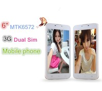 6 inch MTK6572 dual core ultra slim smart phone with IPS screen and dual sim card standby