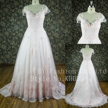 latest sweetheart cap sleeves big train floor-length zip up light pink lace ballgown wedding dress