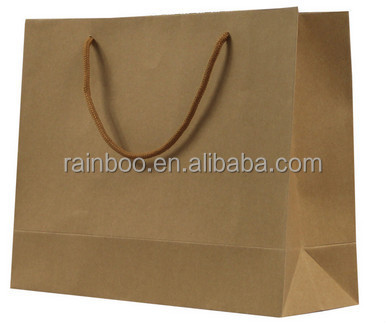 OEM customized cheap recycled kraft paper shopping bag for promotional gift