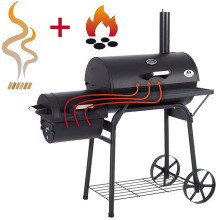custom outdoor offset smoker chrome plated bbq grill charcoal barrel smokers with wheels