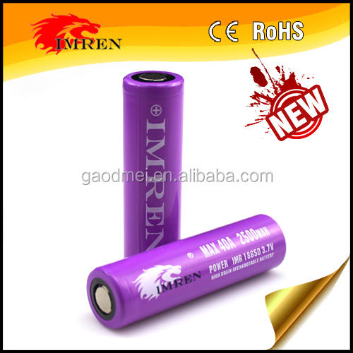 Hot sell in stock IMREN 18650 3.7V 40A 2500MAH rechargeable battery