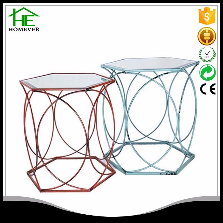 Decoration ce metal hexagon retro red blue top glass console table