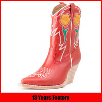 13 years factory latest fashion wedge red mexican cowboy boots india