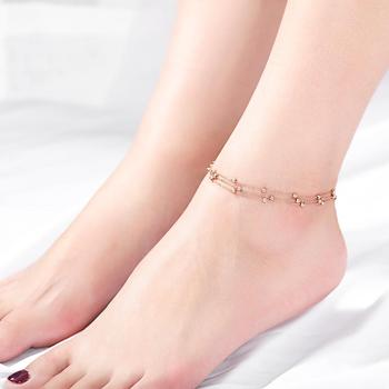 Foot jewelry 3mm bead anklets fancy multilayer anklet