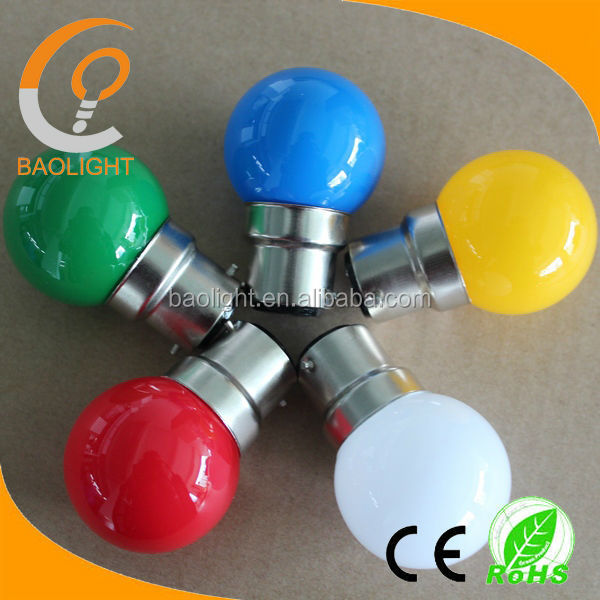 Holiday lighting color bulbs g40 g45 1W led lights b22 golf ball bayonet 240V