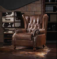 Rustic single seater couch sofa collection set distressed leather sofa