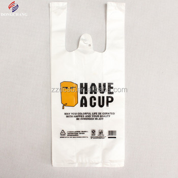Vest handle type plastic carry bag for drink with your own logo printed
