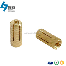 High quality machining screw threaded slotted knurling brass sleeve