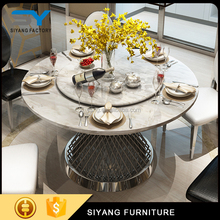 Indian furniture modern stainless steel round rotating dining table CT007