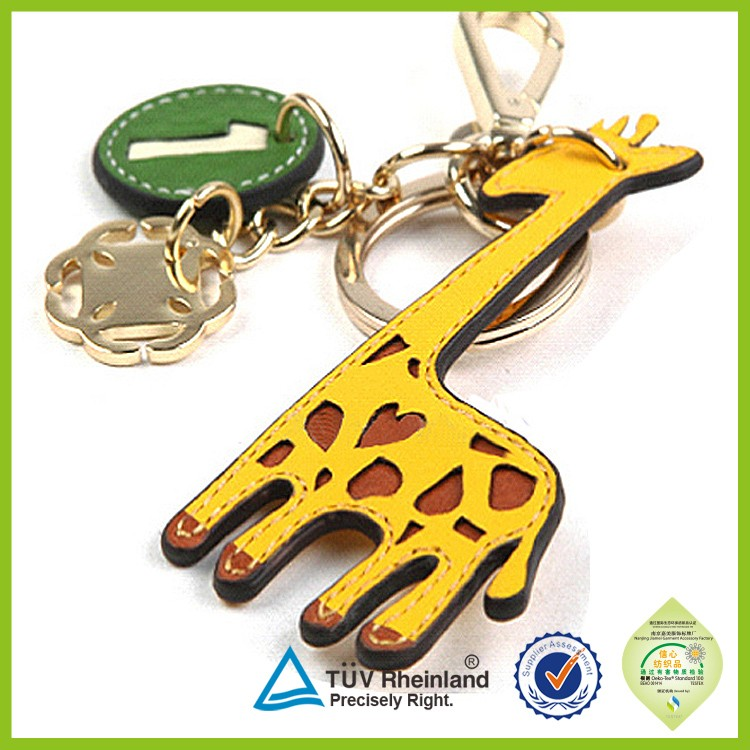 New designed small cute fancy animal make Leather key chain