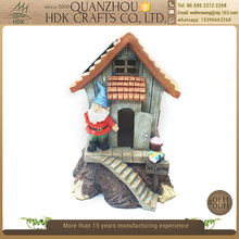 Premium quality garden craft hand painted resin fairy house with solar light