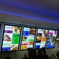 Illuminated A2 acrylic materials backlit sidelit Menu Poster Display led Light box curve edge