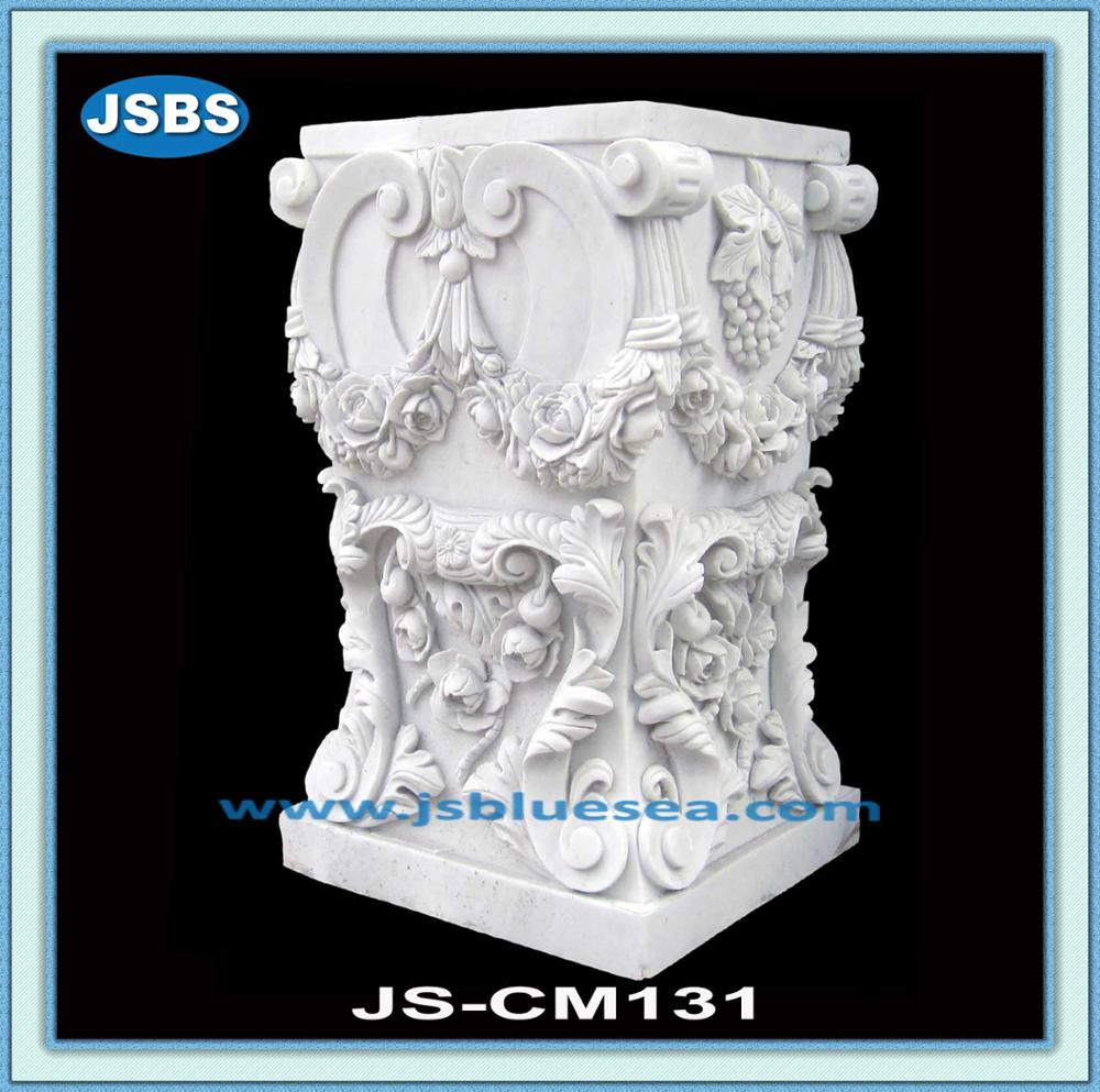 hand carving white marble sculpture pedestal
