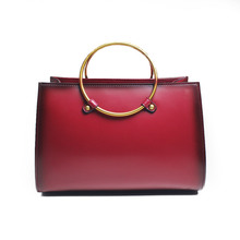 Handbag Manufacturers China Metal Handle Fashion Bags Handmade Genuine Hard Leather Shoulder Women Bags