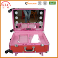 Pink ABS Cosmetic Aluminum Case With LED