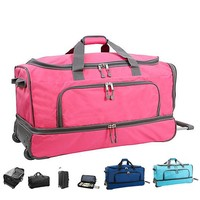 "30"" Drop Bottom Rolling luggage bags large capacity wheeled duffel double layer Travel Bag 600D Polyester trolley bags"