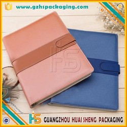 OEM color PU leather cover,handmade wire-o notebook with rubber band/eslatic band for office and school supplies products
