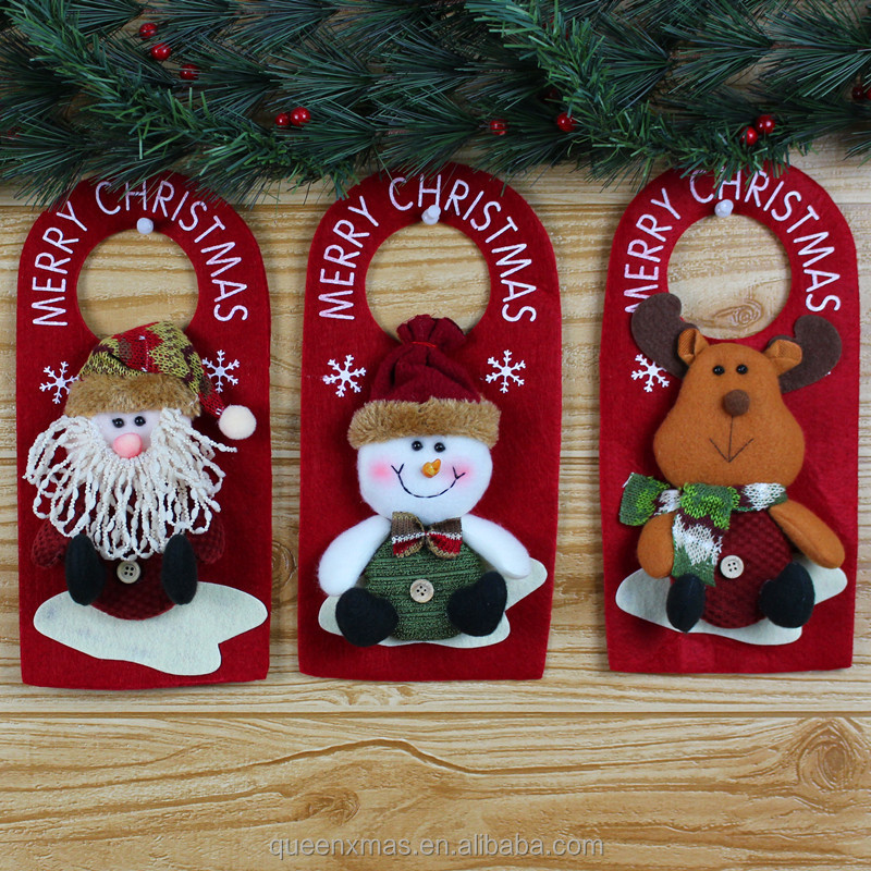 Best Selling snowman santa reindeer fabric christmas door knob hanger