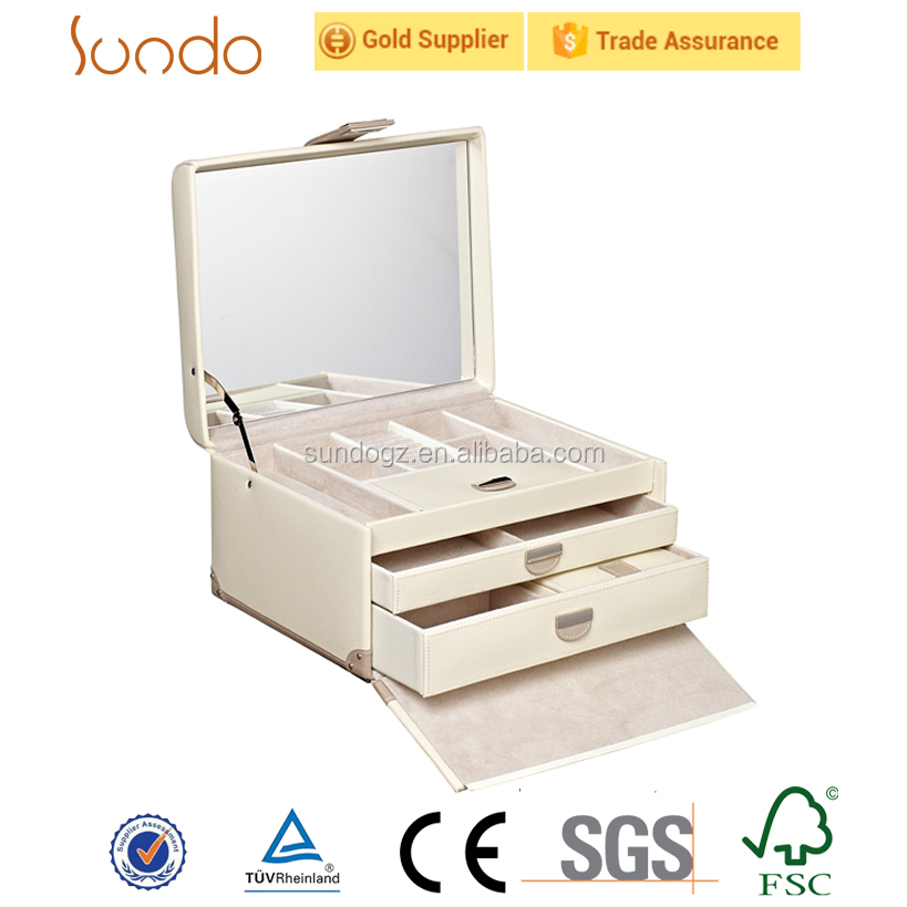 white pu cover luxury cosmetic case with drawer