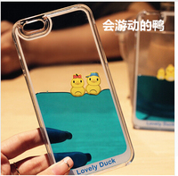 Hot New Arrive Style Protective Case Cover Skin Dynamic Lovely Duck Real Liquid case for iphone 5/6/6 plus