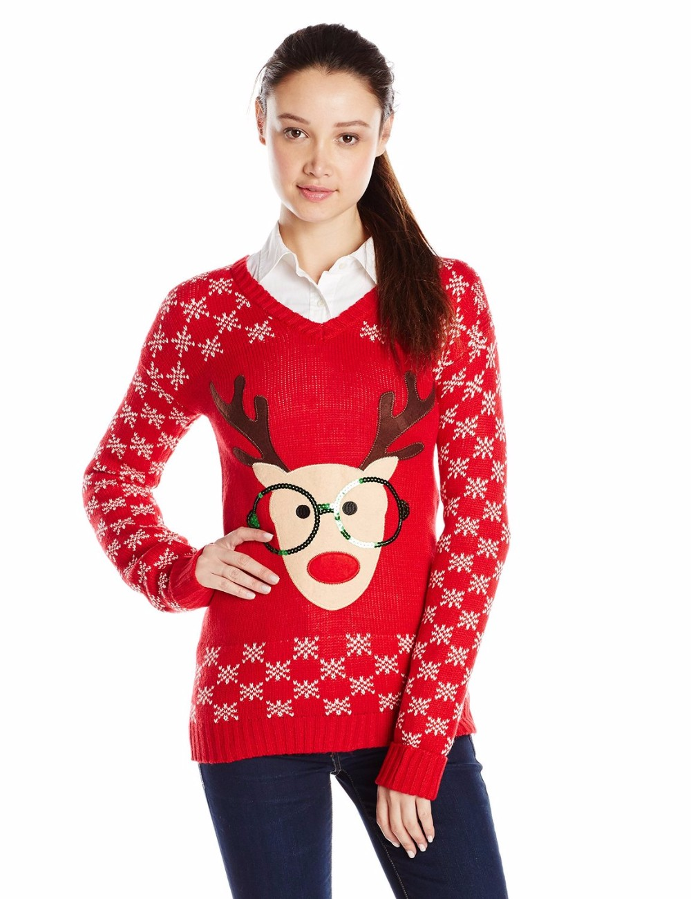 Women Red Sweater Sequined Glasses Santa Reindeer Pattern Christmas Souviners