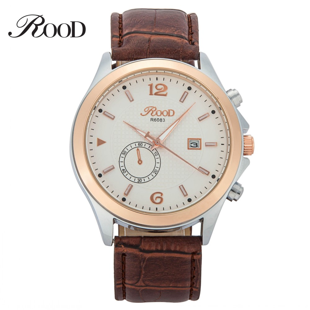 Antique Simple Quartz Men Casual Watch Arabic Numerals Leather Strap Clock Rose Gold Brown Waterproof Watch