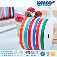 Low price eco-friendly grosgrain red white stripe ribbon for gift decoration