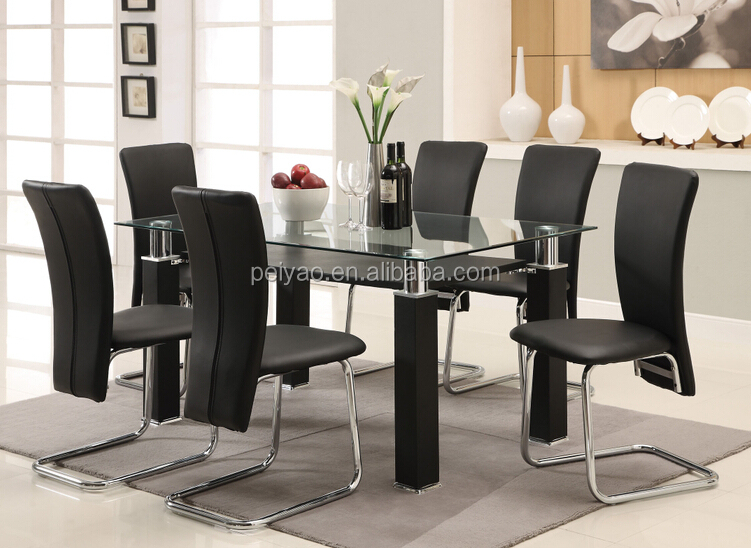 High quality malaysia glass top modern dining table set
