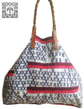 Hmong Batik Tote Handbag leather straps