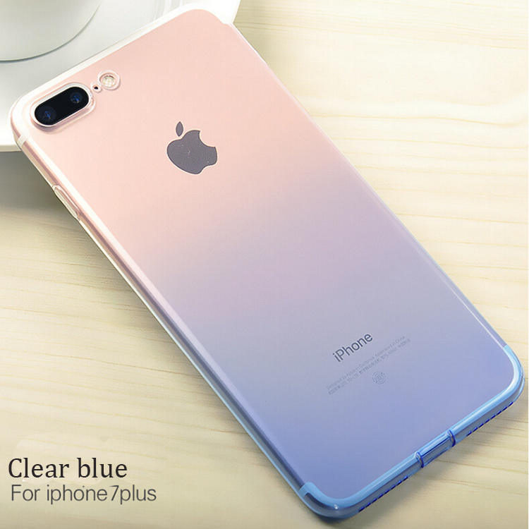 Romantic Gradual Changing Color Flexible TPU Multicolor Gel Phone Skin phone Case cover for Apple iPhone7
