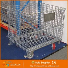 Q235 cold-rolled steel foldable rolling metal storage cage heavy duty storage cage with wheels