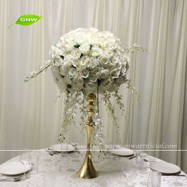 GNW CTR1606003-W Hot sale white rose ball hanging wisteria for Wedding Table Centerpieces