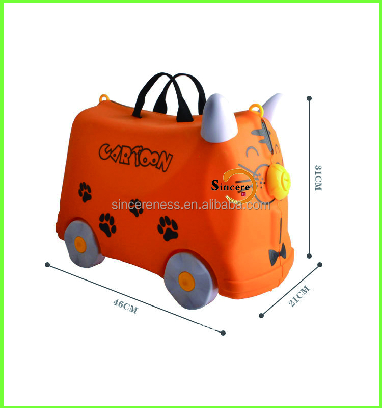 ABS 3D children cartoon riding travel luggage bag