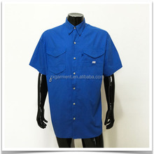 Custom Logo/ Brand Royal Blue Short Sleeved Vented Fishing Shirts ZXFS