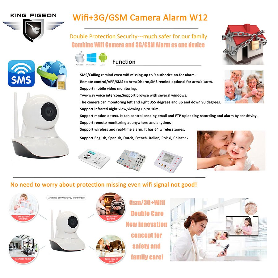 montre camera rc submarine with cctv 3G/GSM wifi ip camera Alarm W12